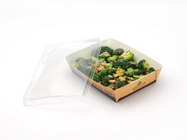 Kraft Container Clear Lid (Medium)| Prism Pak