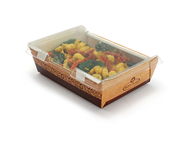 #READYFresh Kraft Container with Clear Hinged Lid (Medium)| Prism Pak